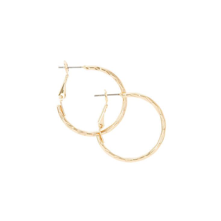 30MM Gold Notched Laser Cut Hoop Earrings,