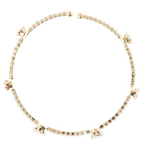 Gold Tone Clear Stone Coil Bracelet,
