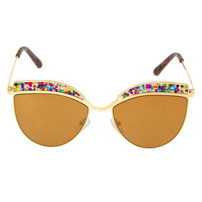 Cat Eye Rainbow Glitter Sunglasses - Gold,