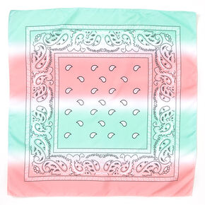Blue & Pink Pastel Ombre Paisley Bandana Headwrap,