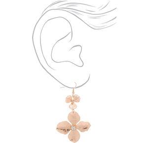 """2.5"""" Rose Gold Flower Drop Earrings,"""