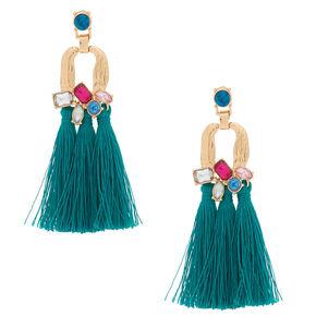 """Gold 3"""" Jewel Tone Tassel Drop Earrings - Emerald,"""