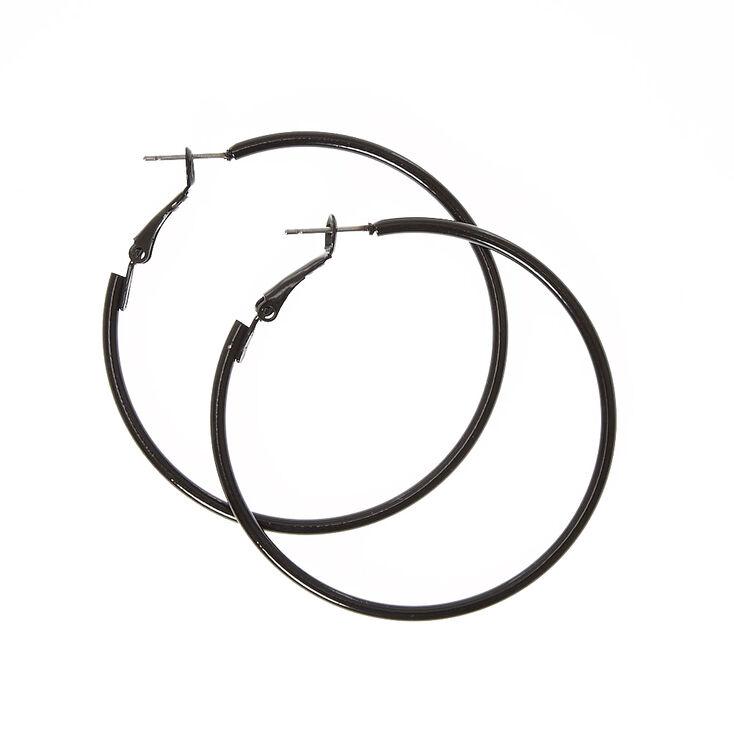 50MM Black Hoop Earrings,
