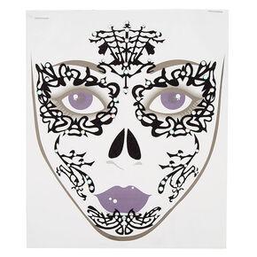 Lace Glitter Face Tattoos - Black,