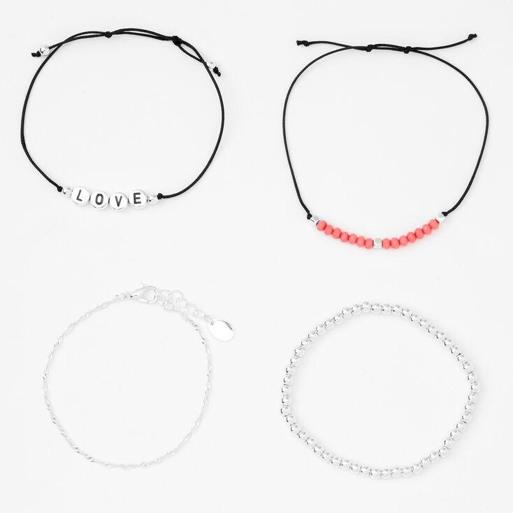 Silver Love Beaded Adjustable Bracelets - 4 Pack,