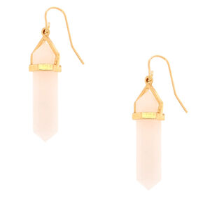 "Crystal Shape 1.5"" Drop Earrings - Pink,"