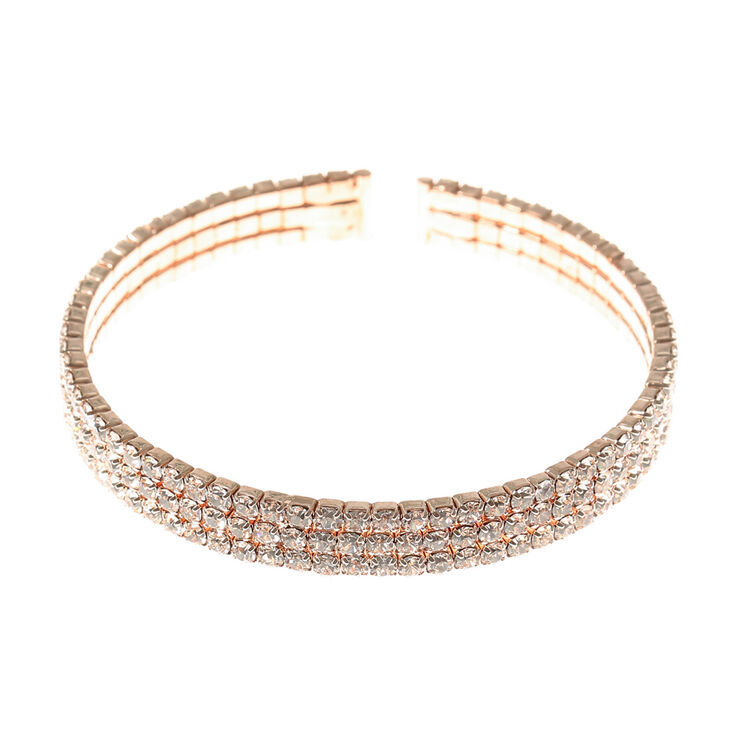 Rose Gold Crystal Cuff Bracelet,
