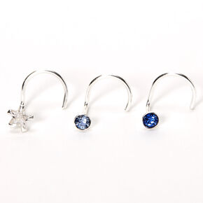Silver 22G Round Star Stone Nose Studs - Blue, 3 Pack,