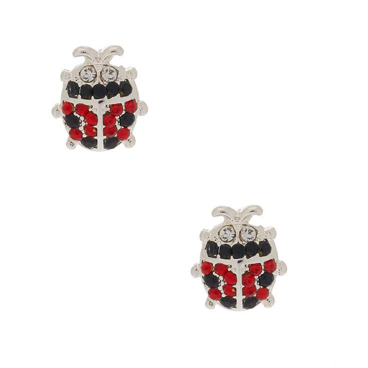 Silver Crystal Ladybug Stud Earrings,