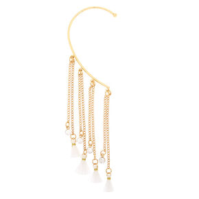 Gold Tassel Ear Hanger - White,