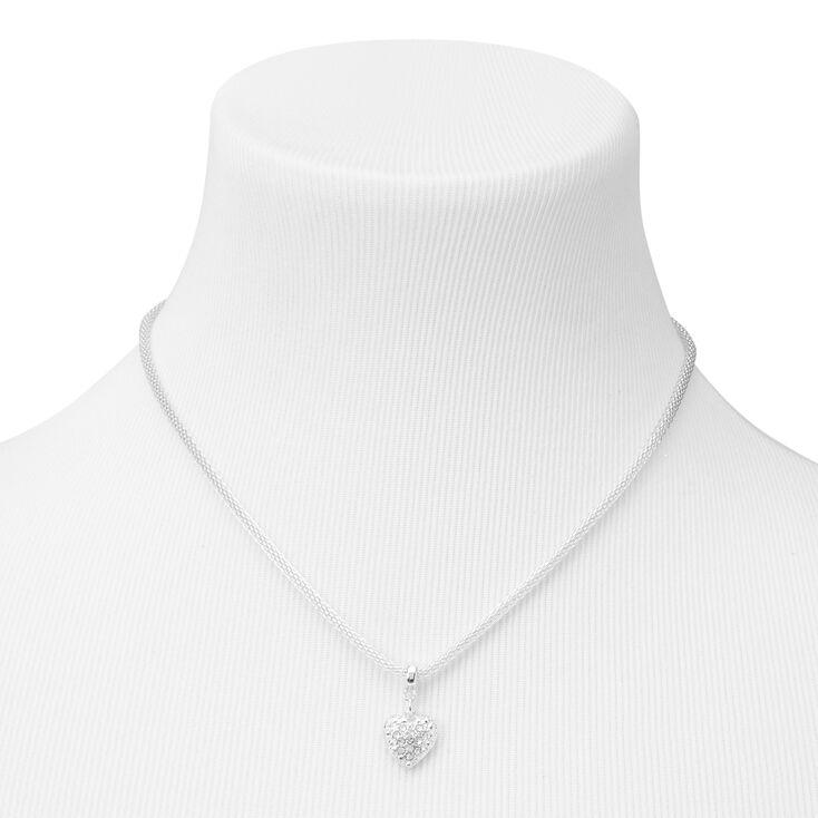 Silver Heart Pendant Box Chain Necklace,