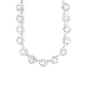 Pearl & Rhinestone Pavé Circles Statement Necklace,