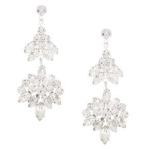 Silver Double Fan Rhinestone Drop Earrings,