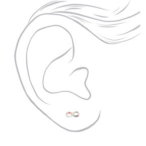 Sterling Silver Rainbow Crystal Infinity Stud Earrings,