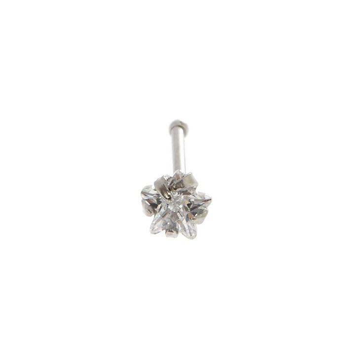 Sterling Silver Cubic Zirconia Star Nose Stud,