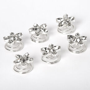 Silver Rhinestone Fancy Flower Hair Spinners - 6 Pack,