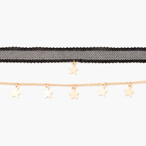 Lace Star Choker Necklaces - 2 Pack, Gold,