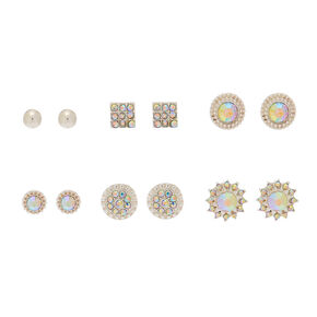 Silver Iridescent Stud Earrings - 6 Pack,