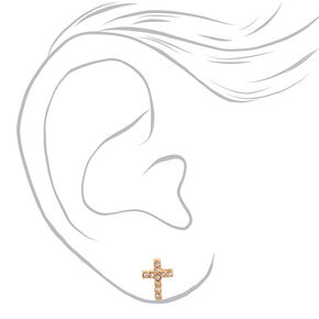 Mixed Metal Crystal Cross Earrings - 9 Pack,