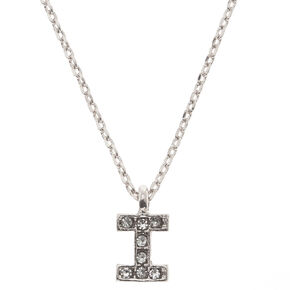 "Silver Studded ""I"" Initial Necklace,"