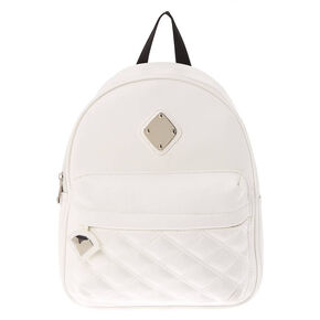 Faux Leather Quilted Midi Backpack - White,