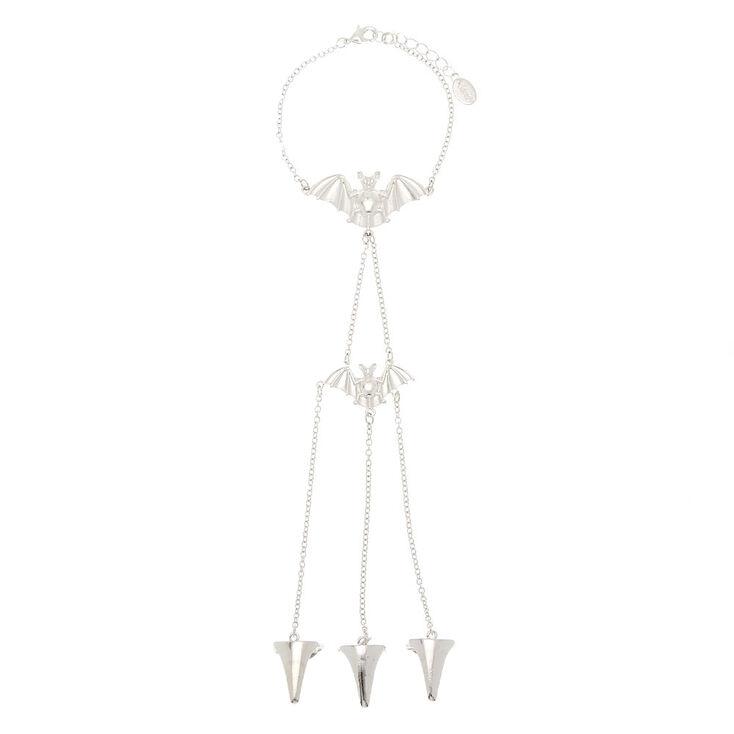 Silver Bat Hand Chain Bracelet,