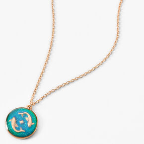Gold Round Mood Zodiac Pendant Necklace - Pisces,