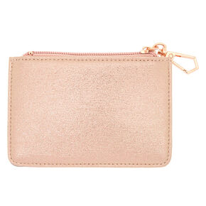 Pink Rose Zip Coin Purse - Rose Gold,