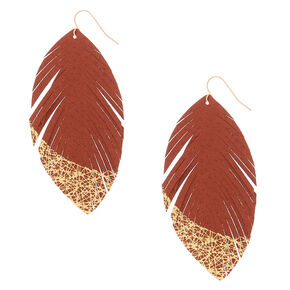 Gold Feather & Metallic Drop Earrings - Rust,