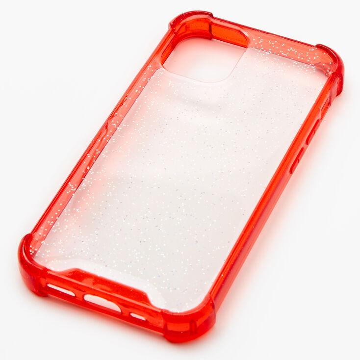 Red Glitter Clear Phone Case - Fits iPhone 12 Mini,