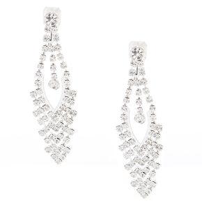 Faux Crystal Clip On Drop Earrings,