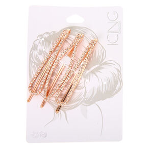 Rose Gold Rhinestone Oval Bobby Pins - 3 Pack,