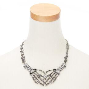 Hematite Skeleton Hands Necklace,