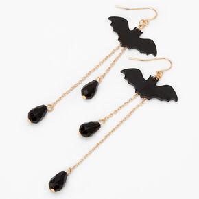 """Gold 3.5"""" Chain Bat Drop Earrings - Black,"""