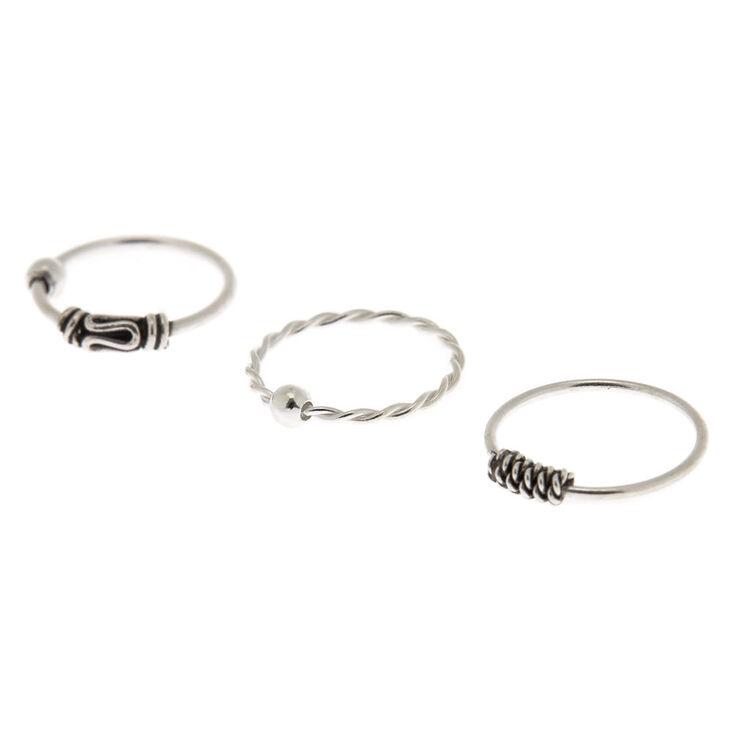 Sterling Silver 22G Bali Twist Cartilage Hoop Earrings - 3 Pack,