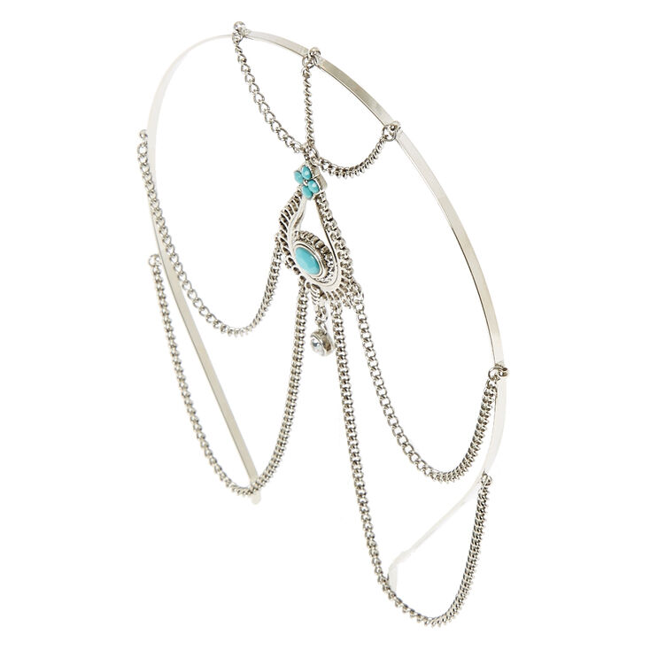 Silver & Turquoise Beaded Head Chain,