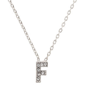 """Silver Studded """"F"""" Initial Necklace,"""