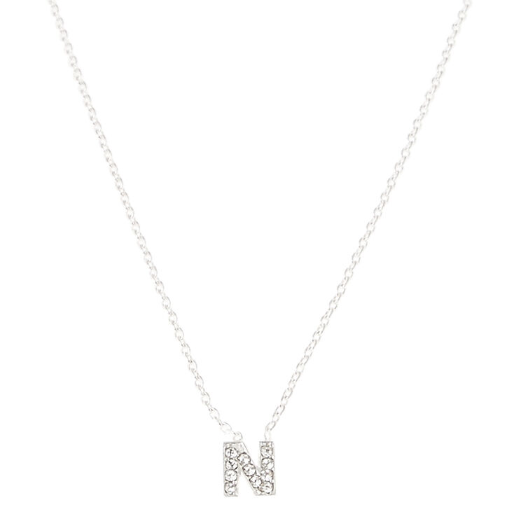 Silver Embellished Initial Pendant Necklace - N,