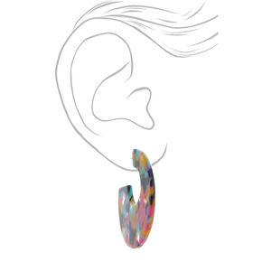 Gold 50MM Tortoiseshell Hoop Earrings - Rainbow,