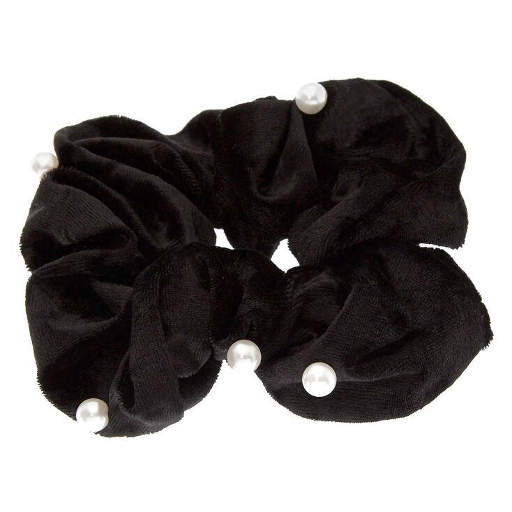 Velvet Pearl Hair Scrunchie - Black,