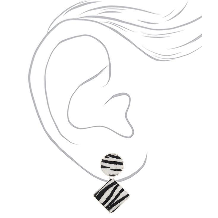 """Silver 2"""" Fuzzy Zebra Drop Earrings,"""