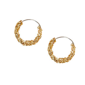 Gold 10MM Glitter Hoop Earrings,