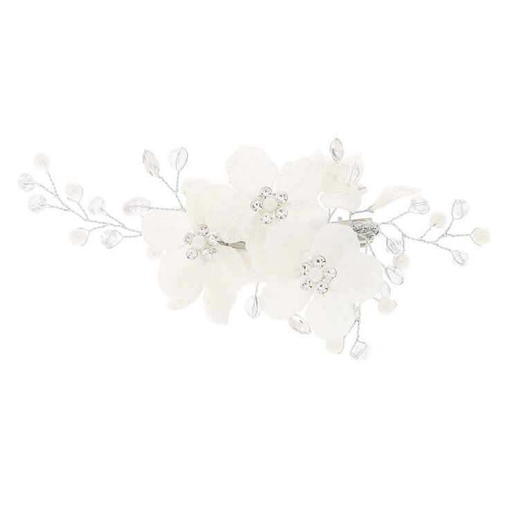Pearlized Crystal Flower Hair Clip - White,