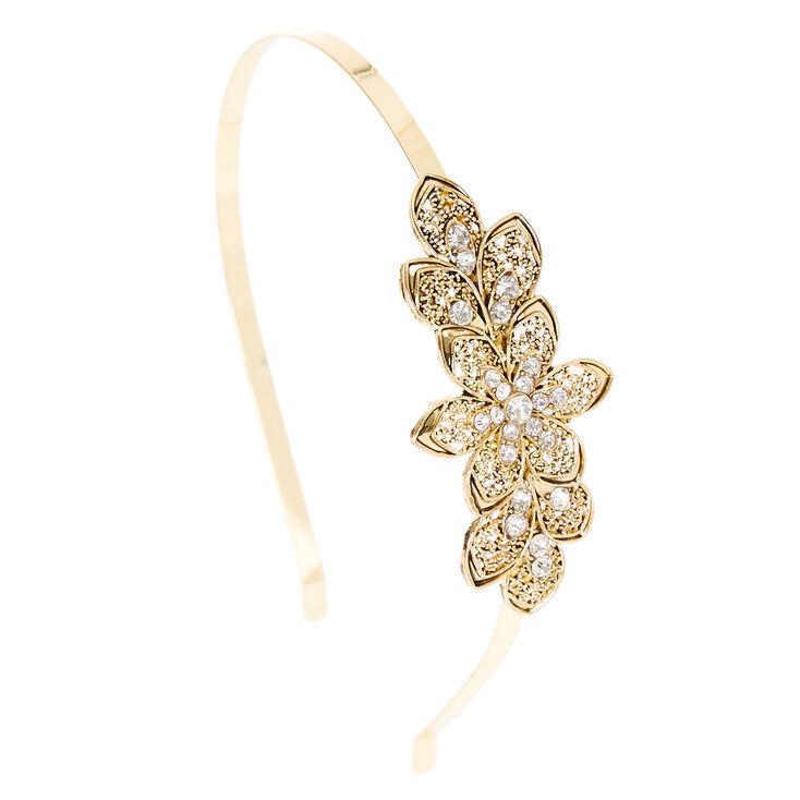 Gold Crystal Flower Headband,