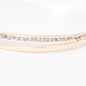 Rose Gold Pave Rhinestone Double Bangle Bracelet,