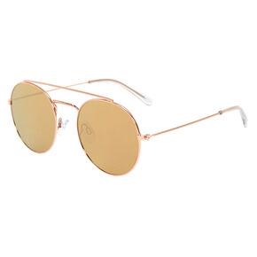 Rose Gold-Tone Round Aviator Sunglasses,