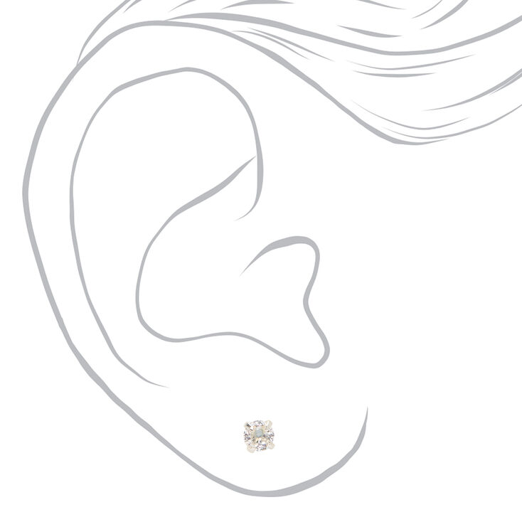 Silver Cubic Zirconia Round Magnetic Stud Earrings - 4MM,