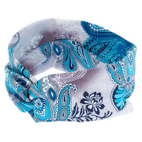 Paisley Print Twisted Headwrap - Turquoise,