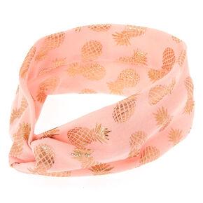 Wide Jersey Metallic Pineapple Headwrap - Rose Gold,