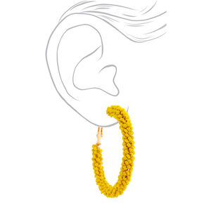 Gold 50MM Beaded Hoop Earrings - Yellow,